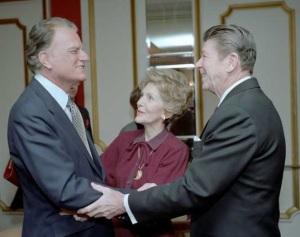 President Reagan Nancy Reagan and Billy Graham at the National Prayer Breakfast in 1985